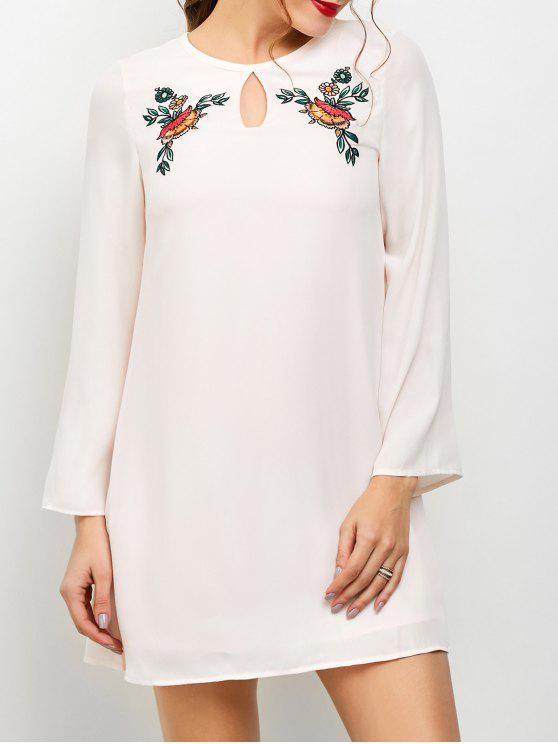 buy Long Sleeve Chiffon Tunic Dress - LIGHT PINK M