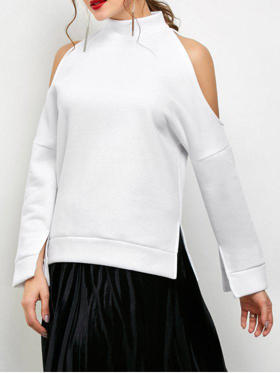 Cold Shoulder de cuello alto con capucha - Blanco L