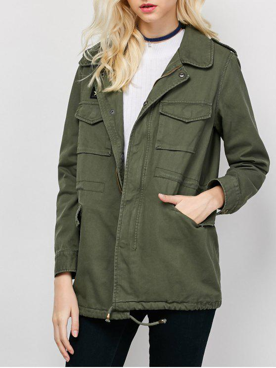 Star Patched Utility Jacket ARMY GREEN: Jackets & Coats M | ZAFUL