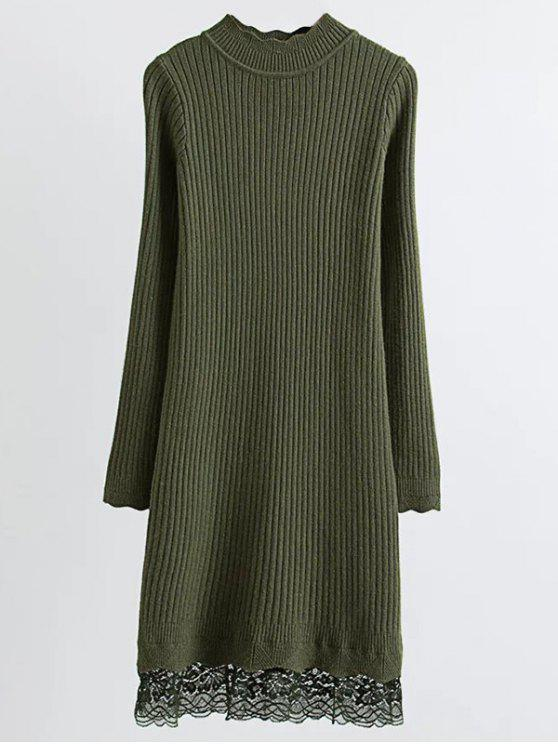 fancy Lace Trim Ribbed Jumper Dress - ARMY GREEN ONE SIZE
