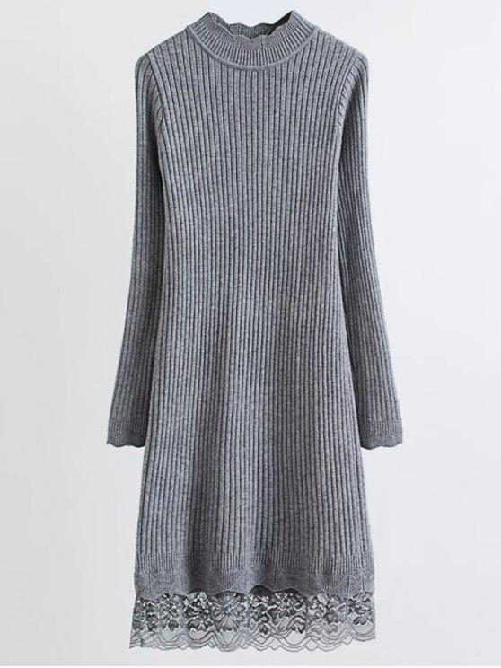 trendy Lace Trim Ribbed Jumper Dress - GRAY ONE SIZE