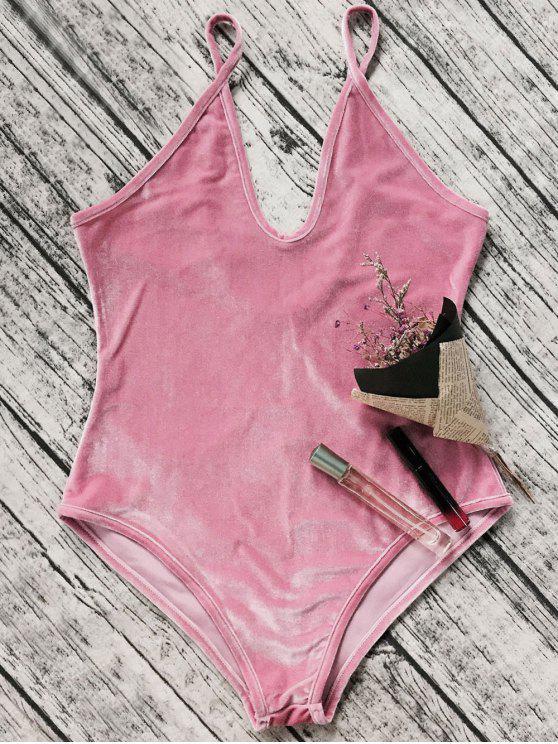 trendy Plunging Neck Slip Velvet Bodysuit - PINK XL
