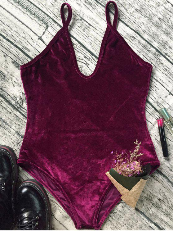 affordable Plunging Neck Slip Velvet Bodysuit - WINE RED M