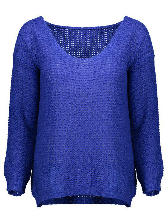 sale Open Stitch Scoop Neck Sweater - BLUE M