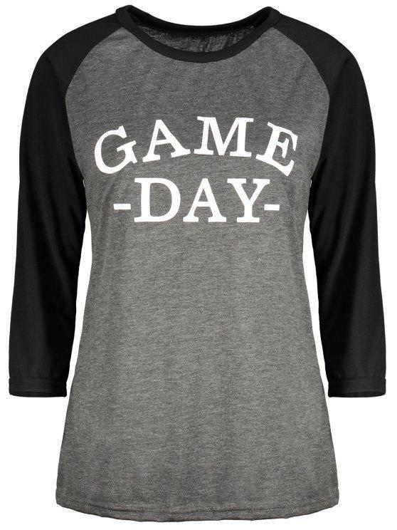 Día del juego de béisbol Tee - Negro y gris M