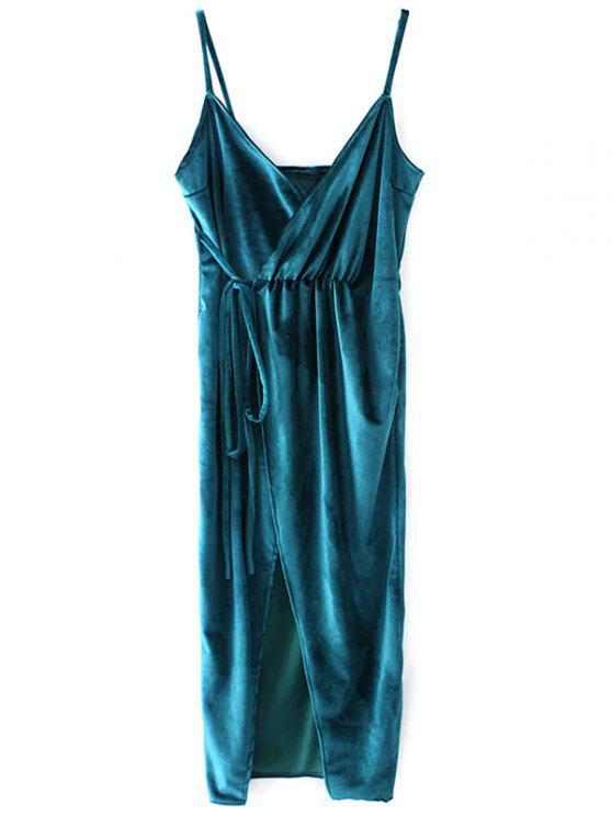 trendy Slip Velvet Wrap Midi Dress - LAKE BLUE M