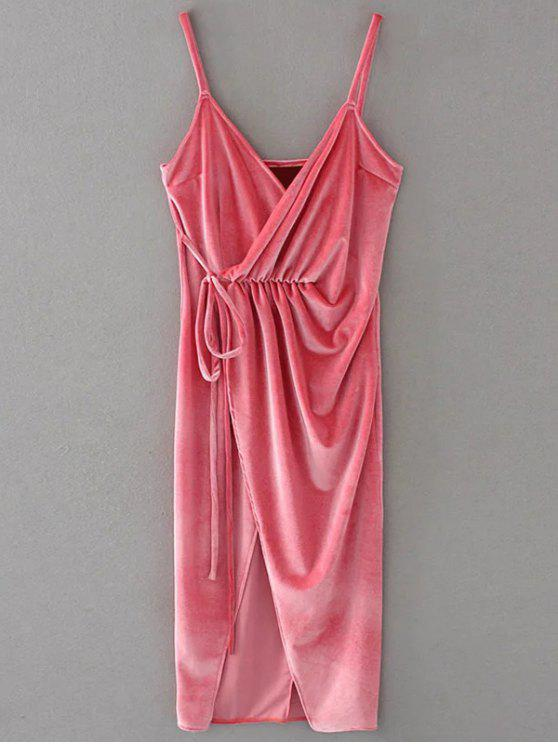 unique Slip Velvet Wrap Midi Dress - PAPAYA S