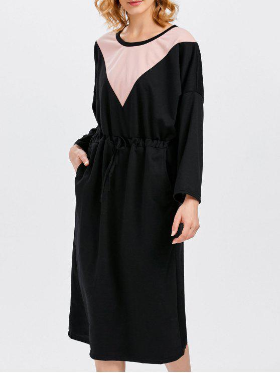 unique Drawstring Color Block Pockets Dress - BLACK ONE SIZE