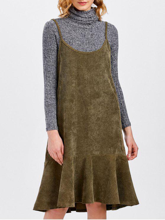 fashion Ruffles Slip Corduroy Dress - DARK KHAKI M