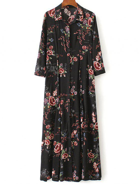 women's Maxi Floral Print Shirt Dress - BLACK M
