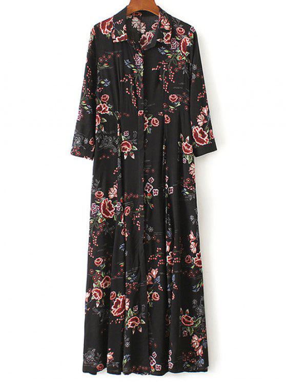 Vestido Tipo Túnica Largo Maxi Estampado Floral - Negro M