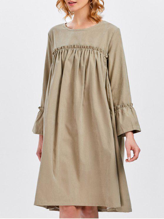 2c359f648ab affordable Long Sleeve Trapeze Dress - KHAKI ONE SIZE