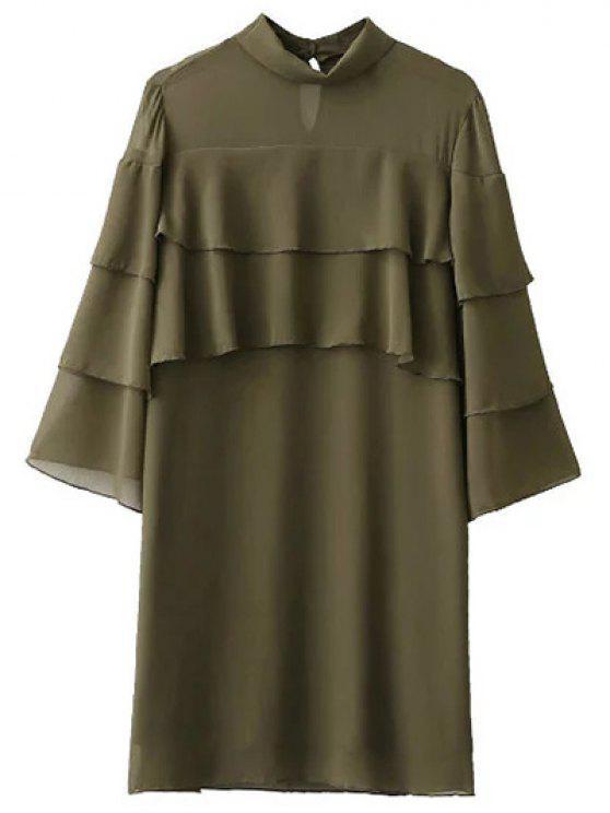 shop Bell Sleeve Ruffle Chiffon Mini Dress - ARMY GREEN S