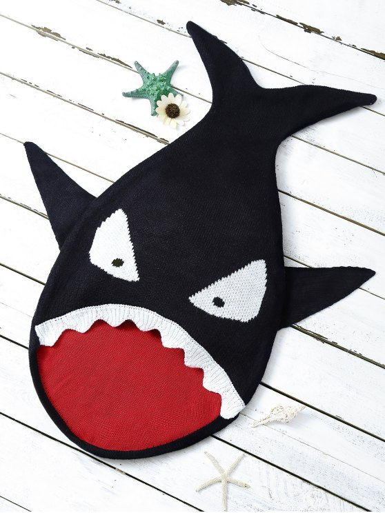 outfits Shark Shape Cartoon Baby Blanket Throw - BLACK