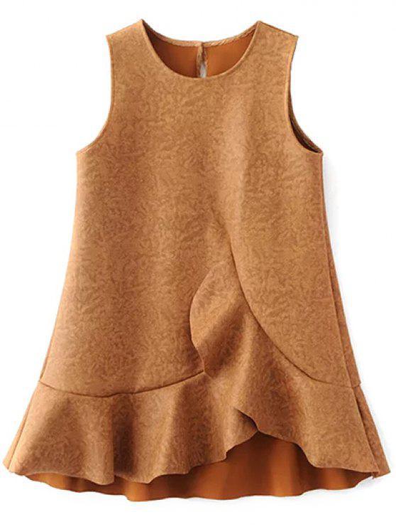 مصغرة كشكش من جلد الغزال دبابات فستان خط - الذهب البني M