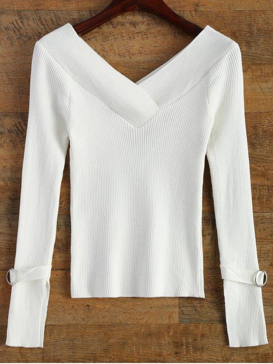 Hombro desnudo cuello en V suéter costilla - Blanco Única Talla