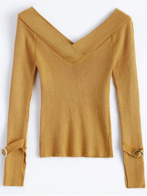 Hombro desnudo cuello en V suéter costilla - Terroso Única Talla