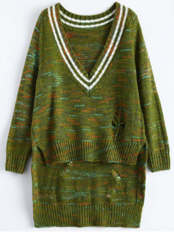 Sweater haut-bas chiné côtelé - Vert TAILLE MOYENNE