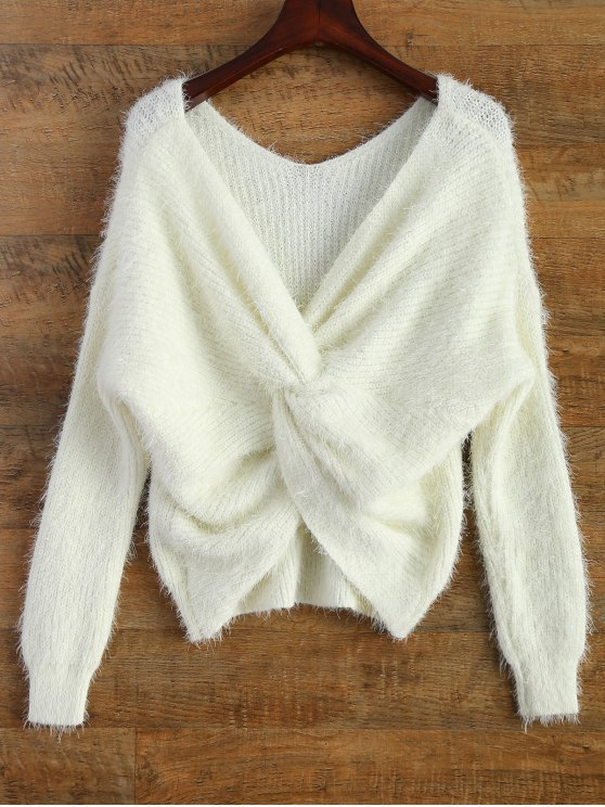 women Fluffy Twisted Chenille Sweater - WHITE ONE SIZE