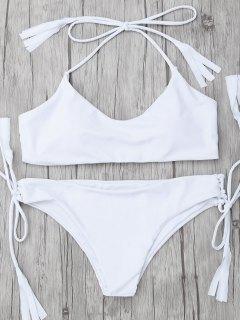 Tasselled Halter Bikini Set - White M