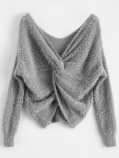 Fluffy Twisted Chenille Sweater - Gray