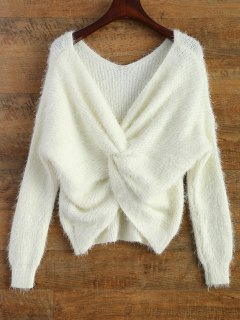 Fluffy Twisted Chenille Sweater - White