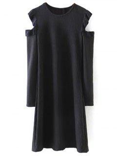 Cold Shoulder Frilled Tunique - Noir S