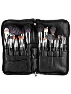 Animal Hair Makeup Brushes Kit - Black