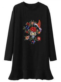 Embroidered Frill Hem Tunic Dress - Black M