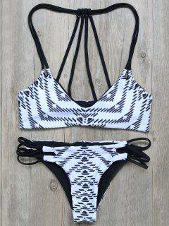 Geometric Print Strappy Back Bikini - White And Black M
