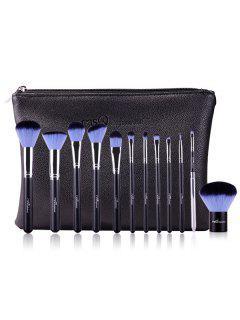 12 Pcs Makeup Brushes Kit - Blue