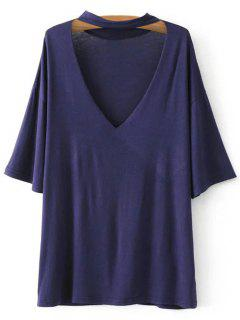 V Neck Choker Strap Tee - Purplish Blue S