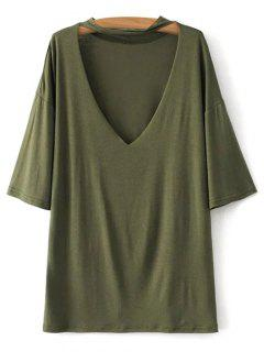 V Neck Choker Strap Tee - Army Green S
