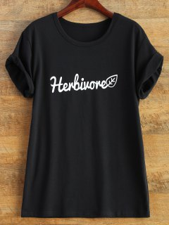 Short Sleeve Herbiuone Boyfriend T-Shirt - Black 3xl