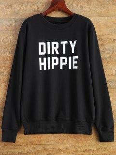Letter Dirty Hippie Print Sweatshirt - Black S