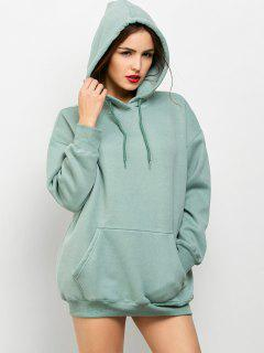 Kangaroo Pocket Fleece Lined Hoodie - Light Green Xs