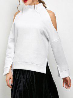 Cold Shoulder High Neck Sweatshirt - White Xs