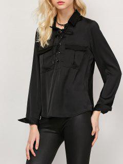 OL Lace-Up Shirt - Black M