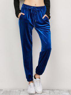 Velour Drawstring Sweatpants - Purplish Blue L