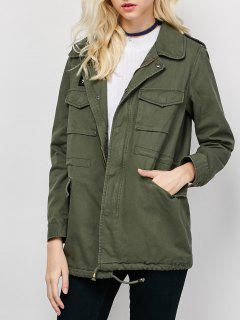 Star Patched Utility Jacket - Army Green M