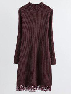 Lace Trim Ribbed Jumper Dress - Claret