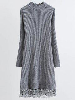Lace Trim Ribbed Jumper Dress - Gray