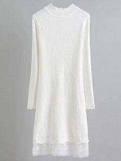 Lace Trim Ribbed Jumper Dress - White