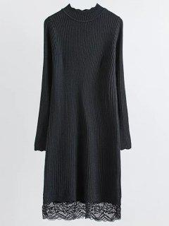 Lace Trim Ribbed Jumper Dress - Noir