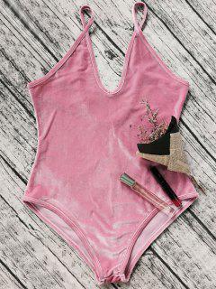 Plunging Neck Slip Velvet Bodysuit - Pink Xl