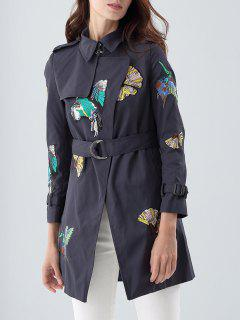 Embroidered Patches Trench Coat - Purplish Blue S