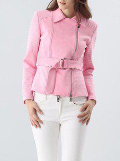 Faux Suede Belted Biker Jacket - Pink S