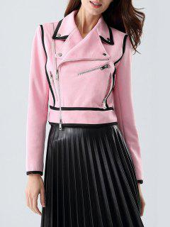 Cropped Piping Faux Suede Biker Jacket - Pink S