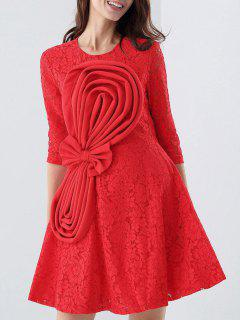 Flippy Orient Lace Dress With Bowknot - Red S