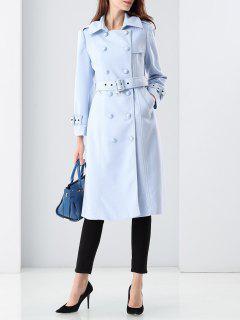 Manteau Double Boutonnage En Laine Mélangée  - Bleu Clair S